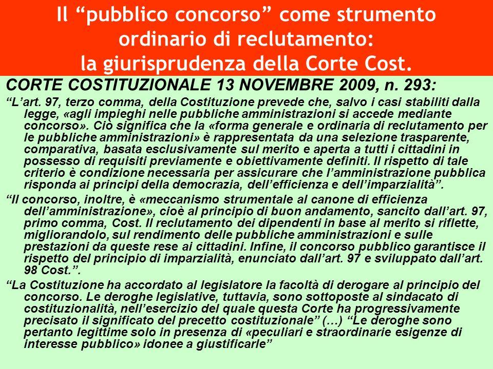 Il pubblico concorso come strumento ordinario di reclutamento: la giurisprudenza della Corte Cost.