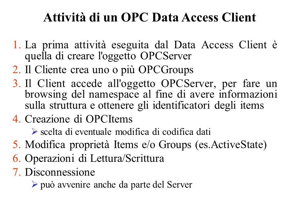 Attività di un OPC Data Access Client