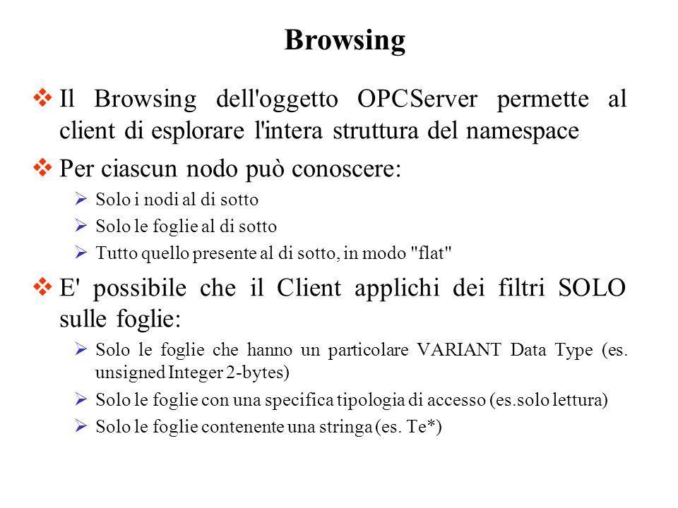 Browsing Il Browsing dell oggetto OPCServer permette al client di esplorare l intera struttura del namespace.