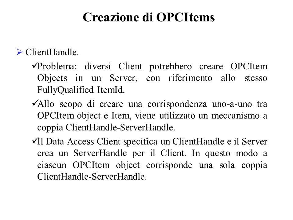 Creazione di OPCItems ClientHandle.