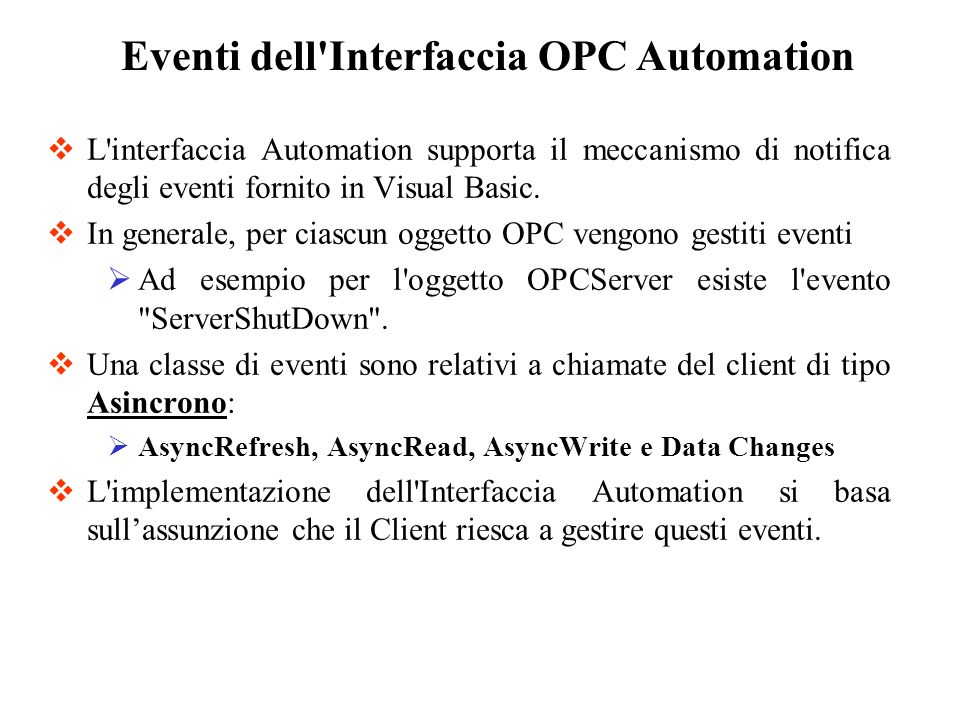 Eventi dell Interfaccia OPC Automation