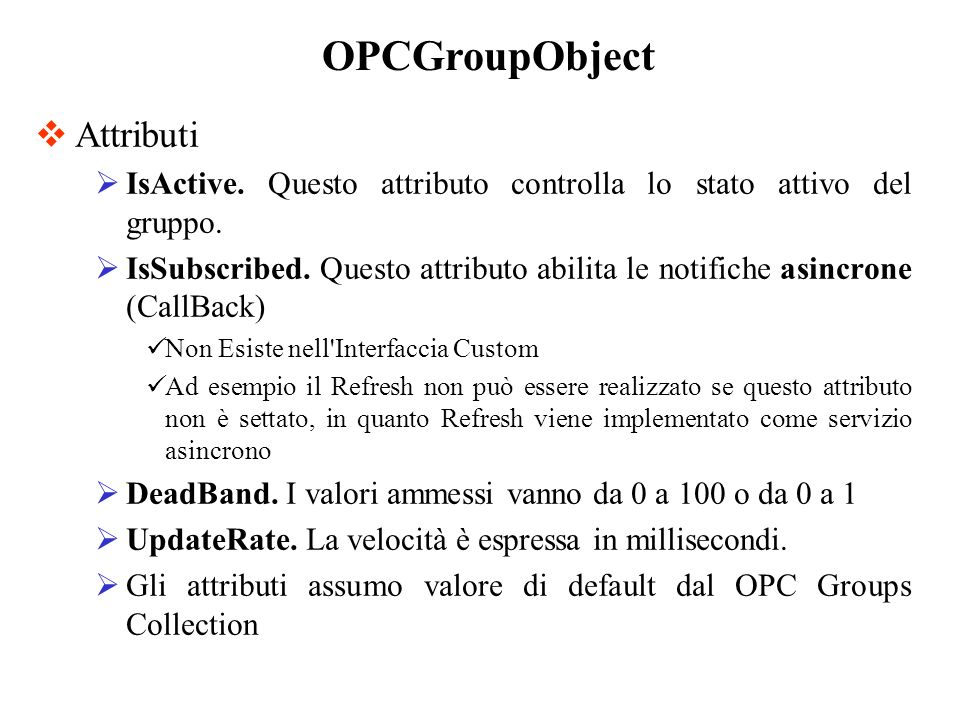 OPCGroupObject Attributi