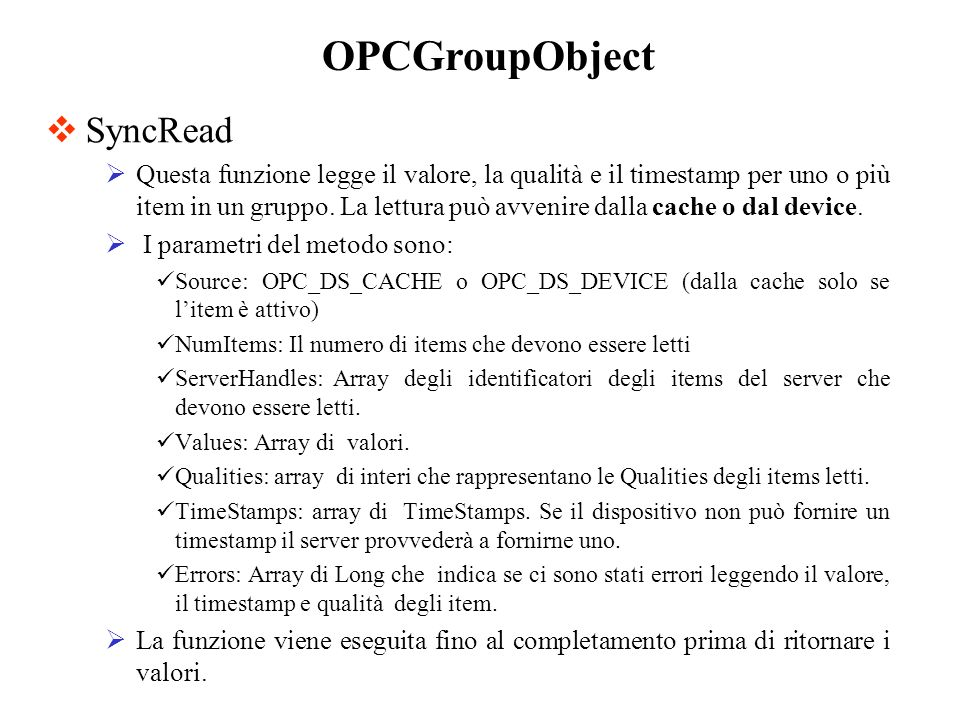 OPCGroupObject SyncRead