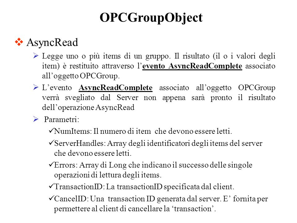 OPCGroupObject AsyncRead