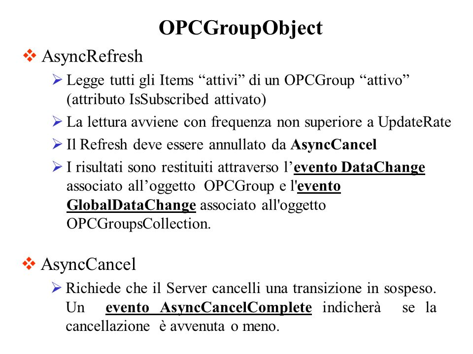 OPCGroupObject AsyncRefresh AsyncCancel