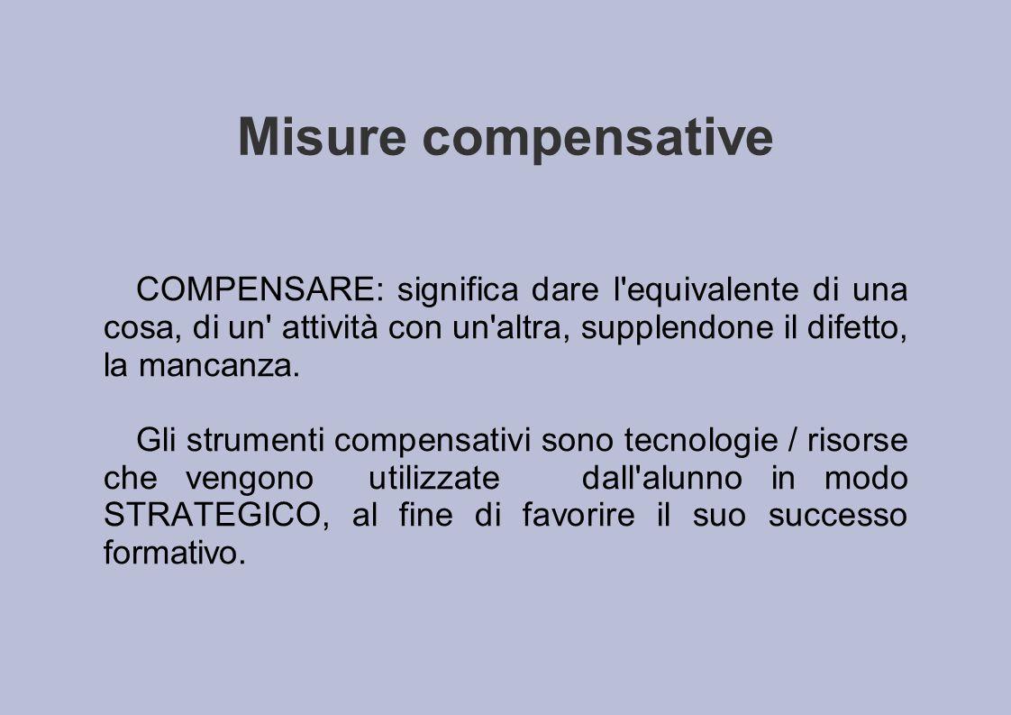 Misure compensative COMPENSARE: significa dare l equivalente di una cosa, di un attività con un altra, supplendone il difetto, la mancanza.
