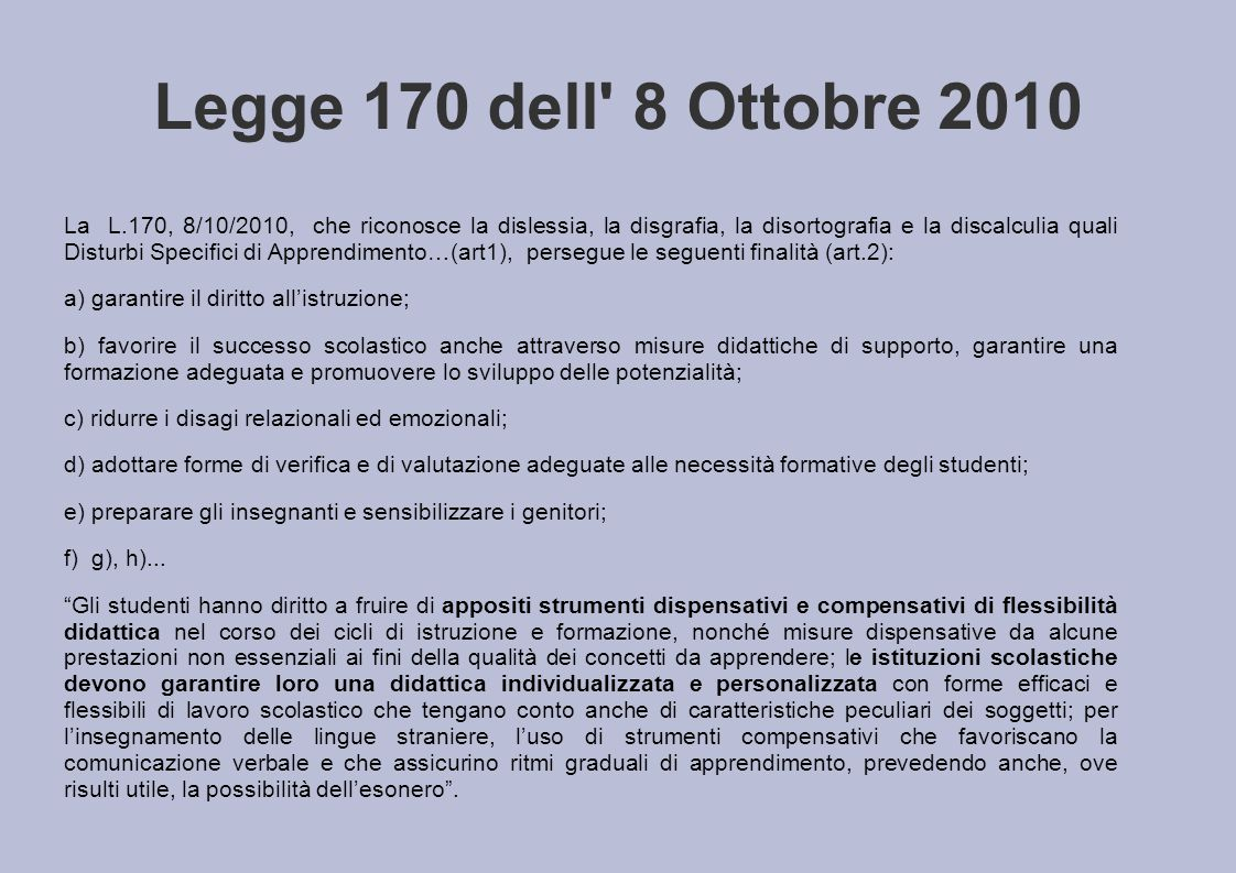 Legge 170 dell 8 Ottobre 2010