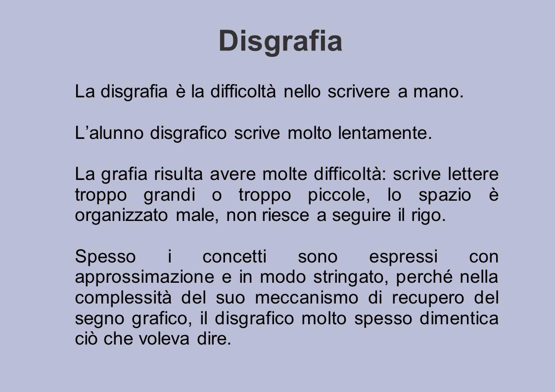 Disgrafia La disgrafia è la difficoltà nello scrivere a mano.