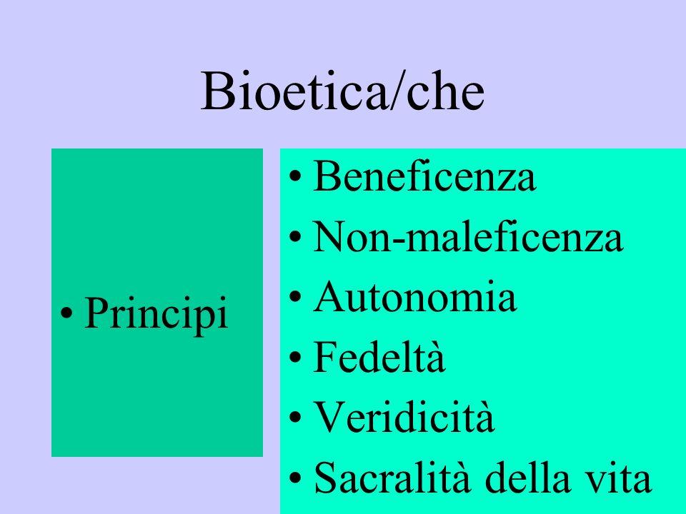 Bioetica/che Beneficenza Non-maleficenza Autonomia Principi Fedeltà