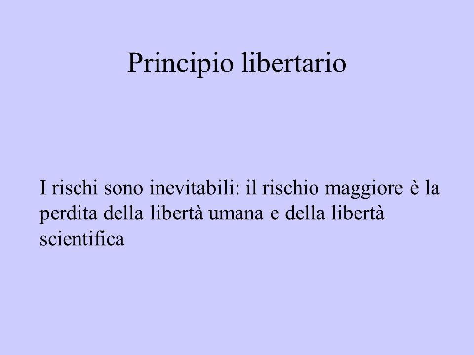 Principio libertarioI rischi sono inevitabili: il rischio maggiore è la perdita della libertà umana e della libertà scientifica.