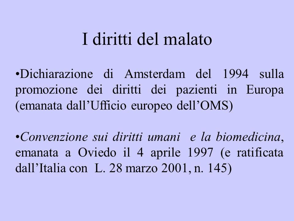 I diritti del malatoDichiarazione di Amsterdam del 1994 sulla promozione dei diritti dei pazienti in Europa (emanata dall'Ufficio europeo dell'OMS)