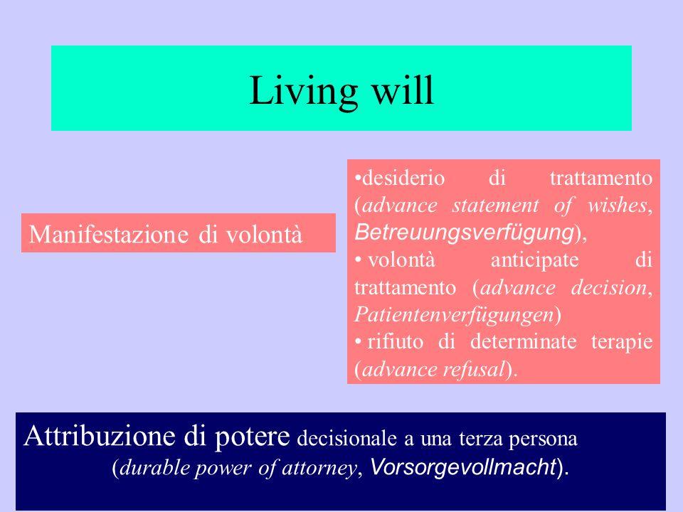 (durable power of attorney, Vorsorgevollmacht).