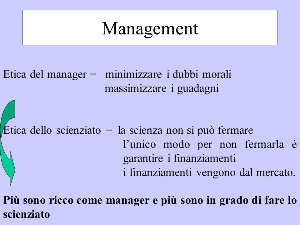 Management Etica del manager = minimizzare i dubbi morali