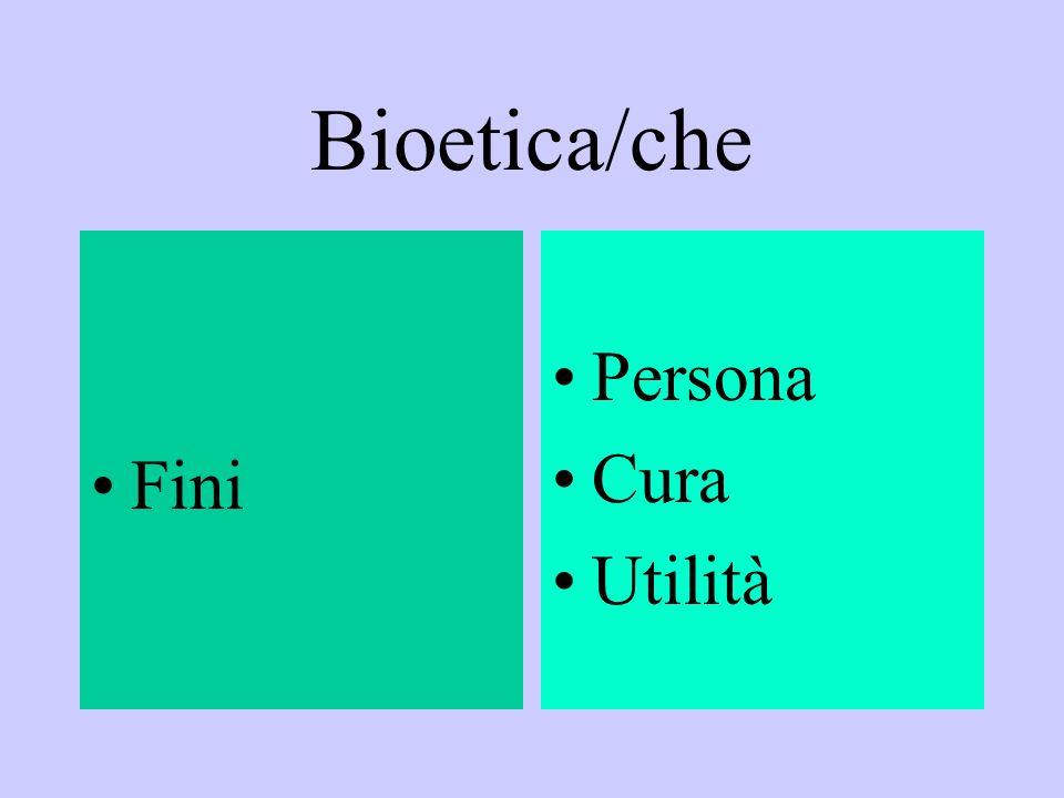 Bioetica/che Fini Persona Cura Utilità