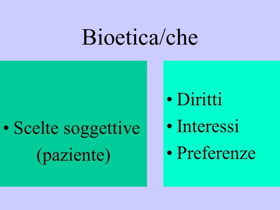 Bioetica/che Scelte soggettive (paziente) Diritti Interessi Preferenze
