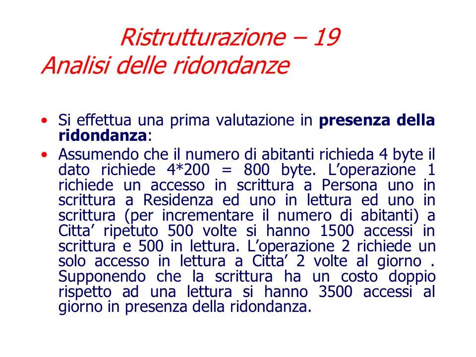 Ristrutturazione – 19 Analisi delle ridondanze