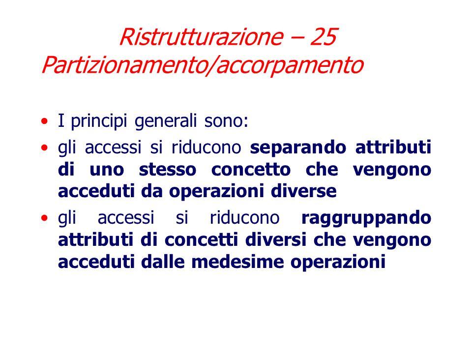 Ristrutturazione – 25 Partizionamento/accorpamento