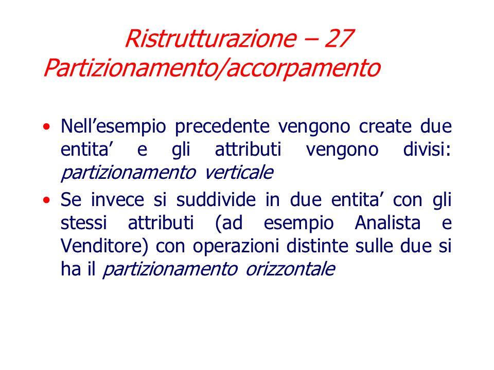 Ristrutturazione – 27 Partizionamento/accorpamento