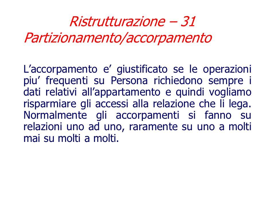 Ristrutturazione – 31 Partizionamento/accorpamento