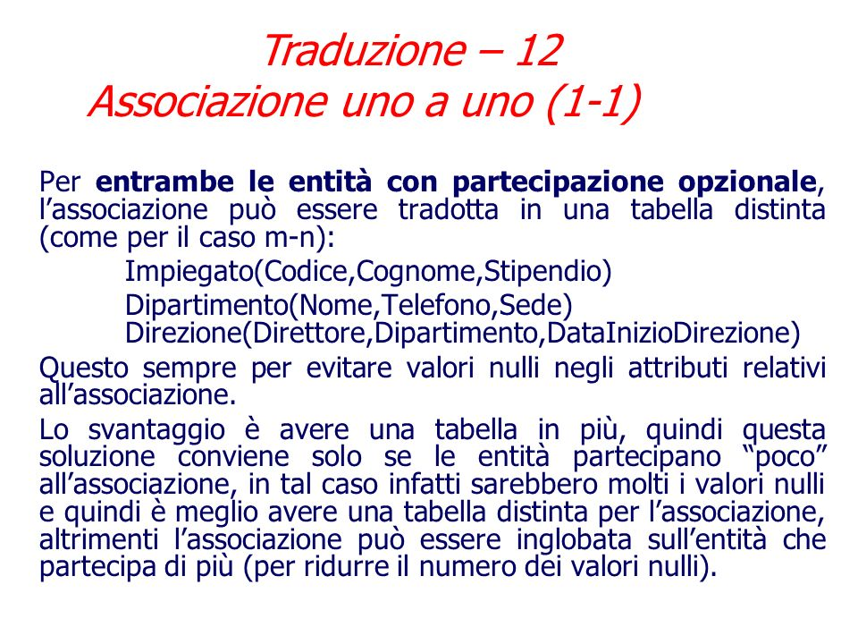 Traduzione – 12 Associazione uno a uno (1-1)