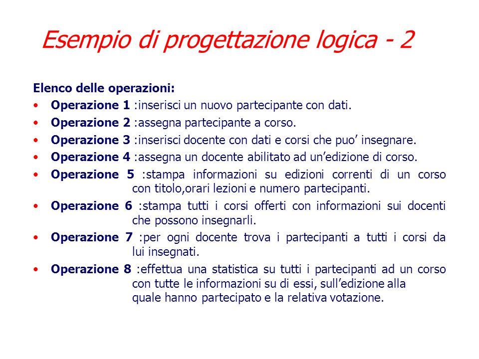 Esempio di progettazione logica - 2