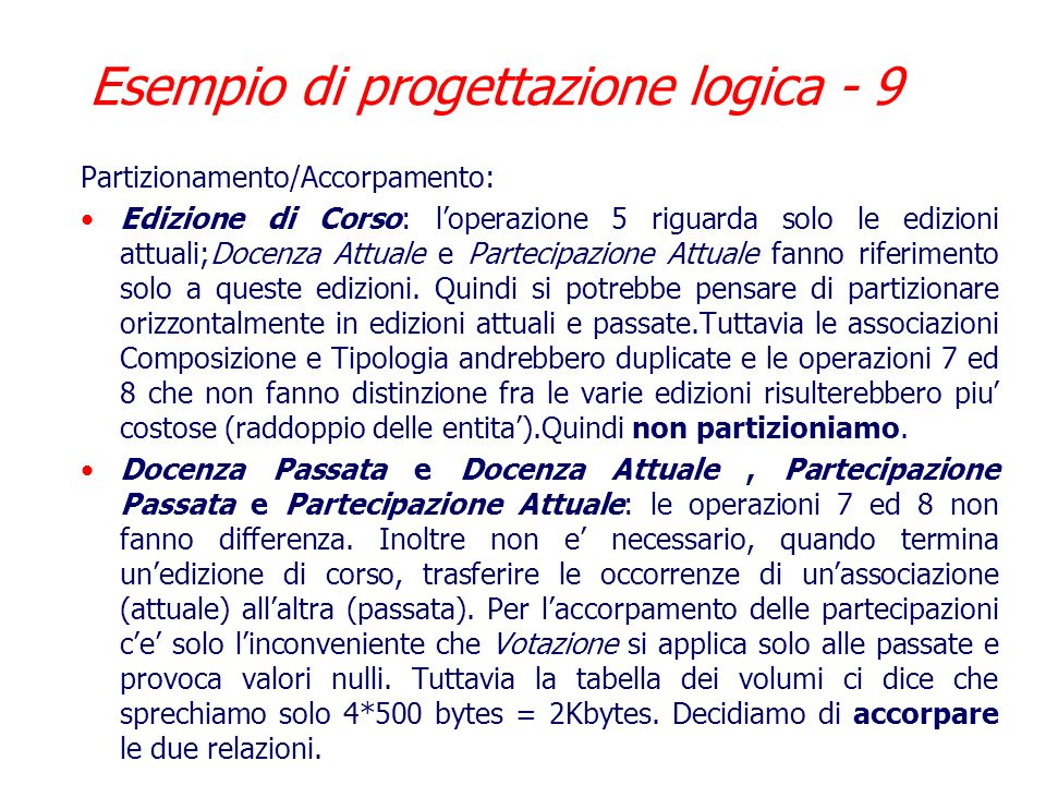Esempio di progettazione logica - 9