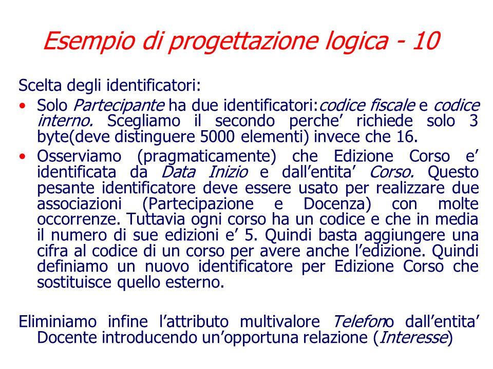 Esempio di progettazione logica - 10
