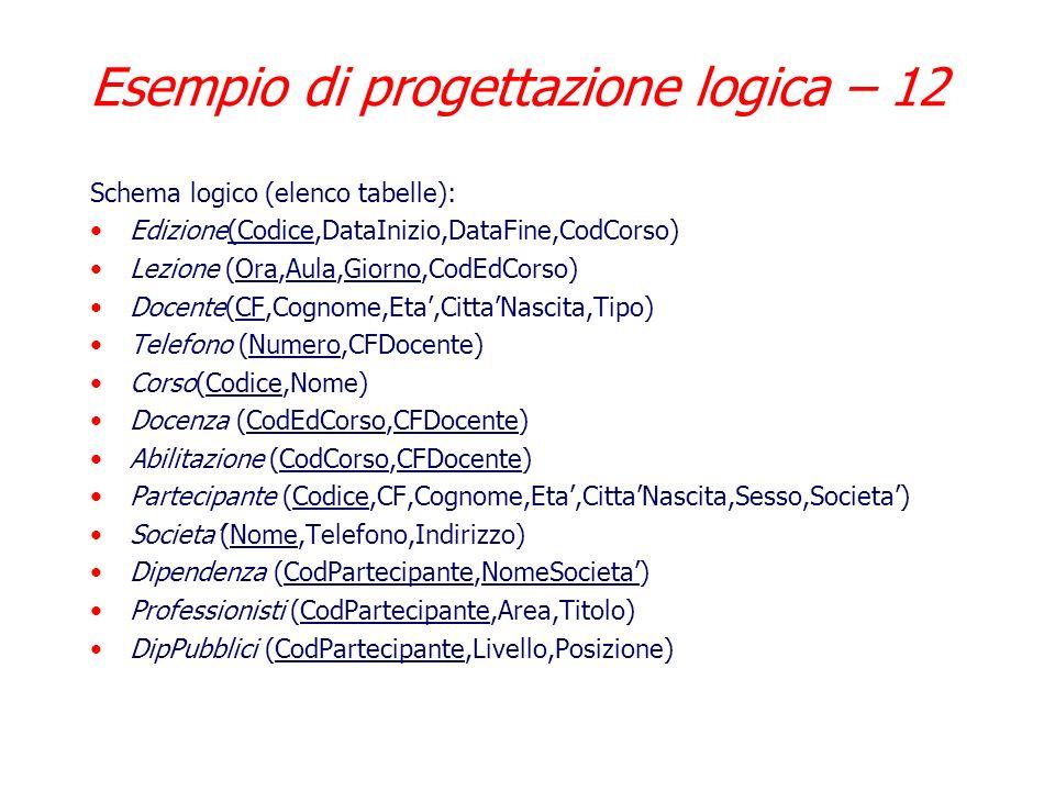 Esempio di progettazione logica – 12