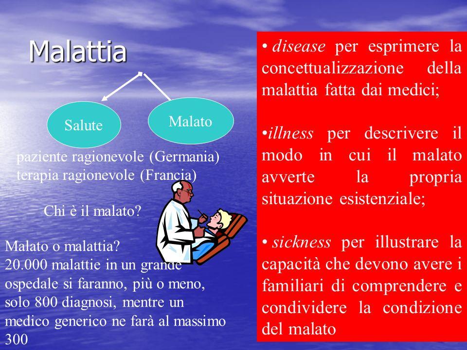 Malattia disease per esprimere la concettualizzazione della malattia fatta dai medici;