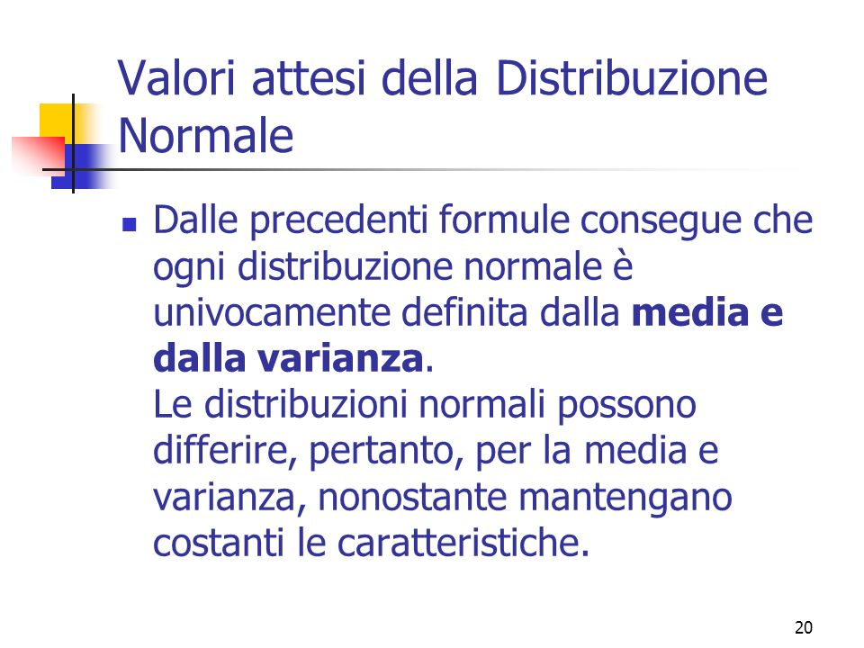 Valori attesi della Distribuzione Normale