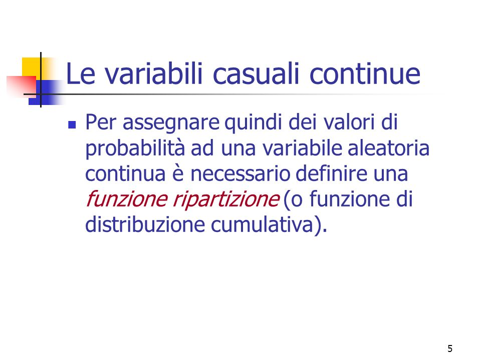Le variabili casuali continue