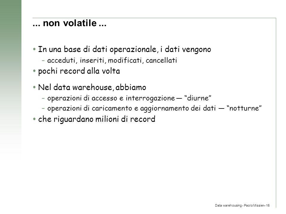 ... non volatile ... In una base di dati operazionale, i dati vengono