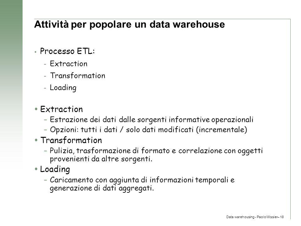 Attività per popolare un data warehouse
