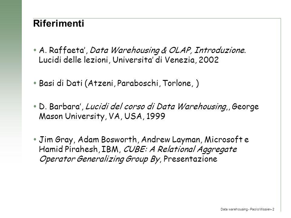 Riferimenti A. Raffaeta', Data Warehousing & OLAP, Introduzione. Lucidi delle lezioni, Universita' di Venezia, 2002.