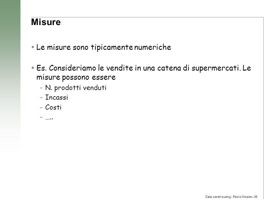 Misure Le misure sono tipicamente numeriche