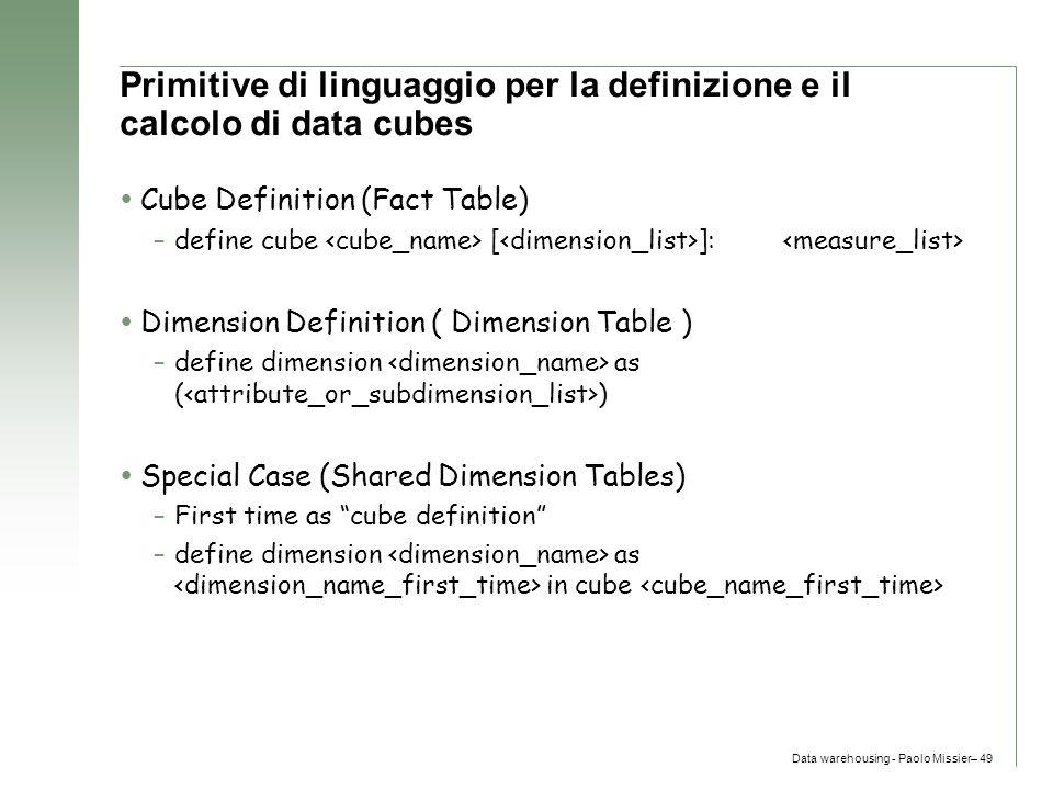 Primitive di linguaggio per la definizione e il calcolo di data cubes