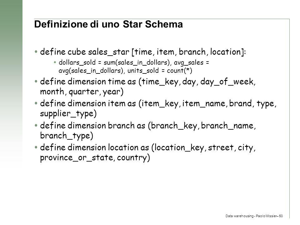 Definizione di uno Star Schema