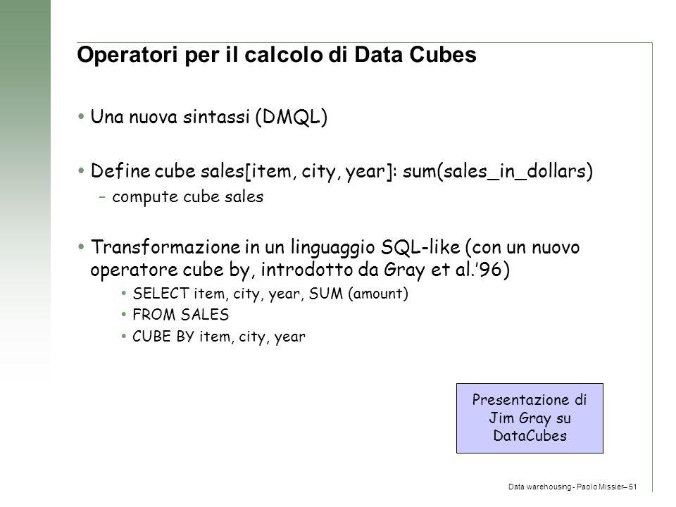 Operatori per il calcolo di Data Cubes