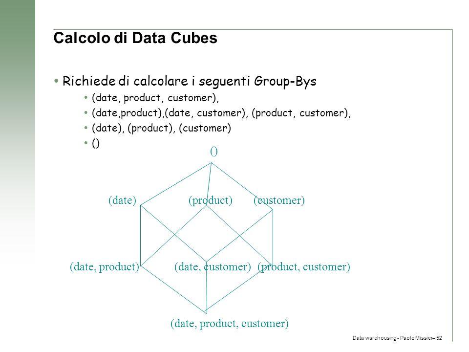 Calcolo di Data Cubes Richiede di calcolare i seguenti Group-Bys