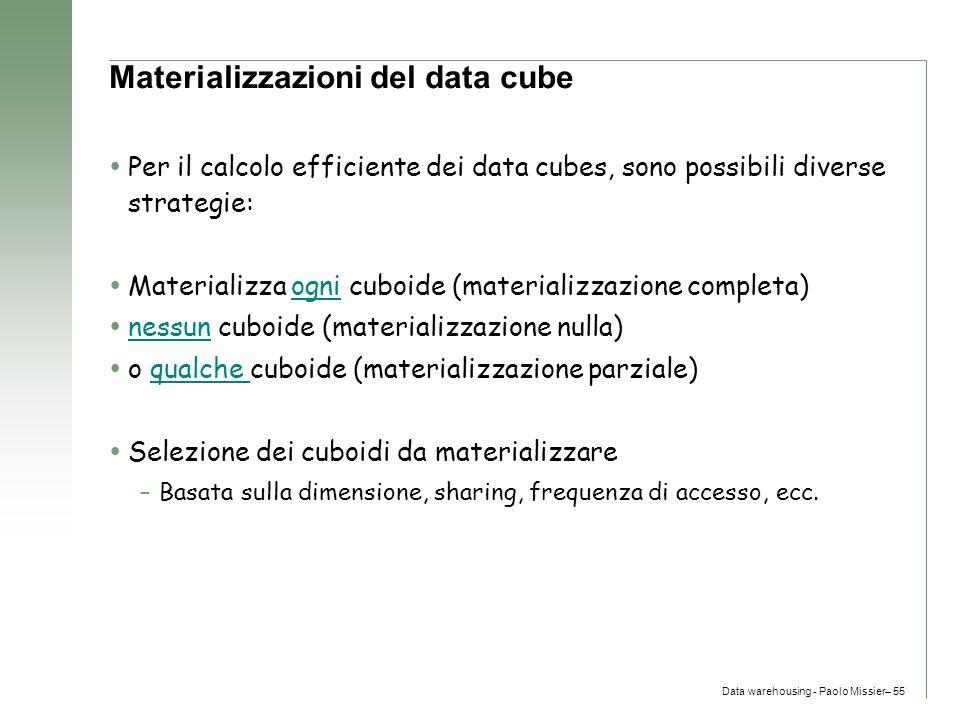 Materializzazioni del data cube