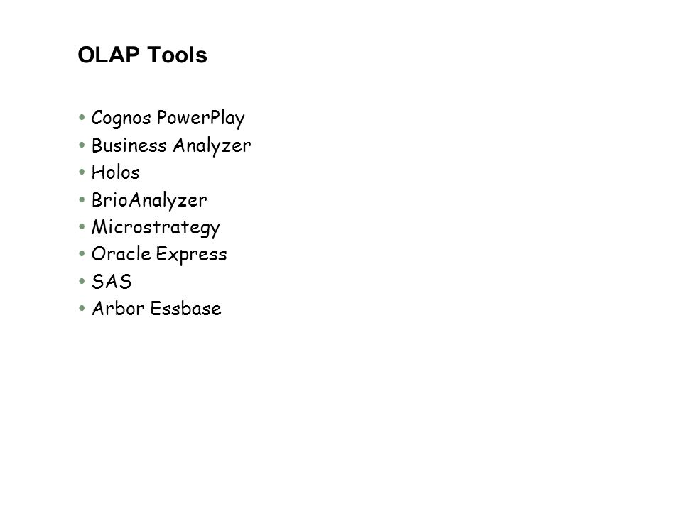OLAP Tools Cognos PowerPlay Business Analyzer Holos BrioAnalyzer