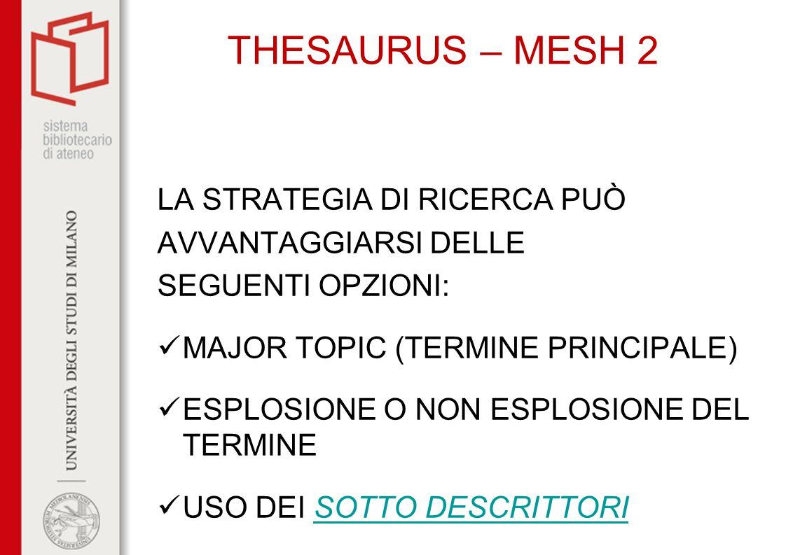 THESAURUS – MESH 2 LA STRATEGIA DI RICERCA PUÒ AVVANTAGGIARSI DELLE
