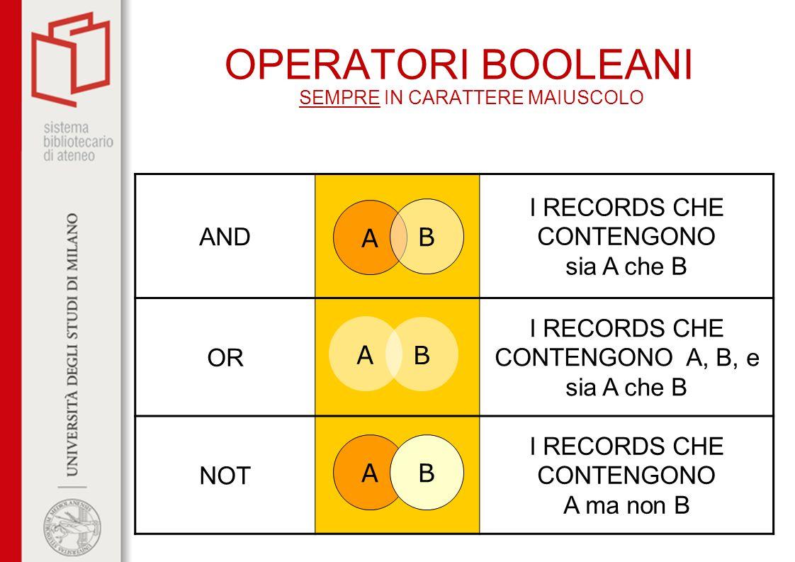 OPERATORI BOOLEANI SEMPRE IN CARATTERE MAIUSCOLO
