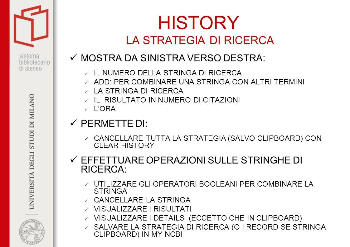 HISTORY LA STRATEGIA DI RICERCA