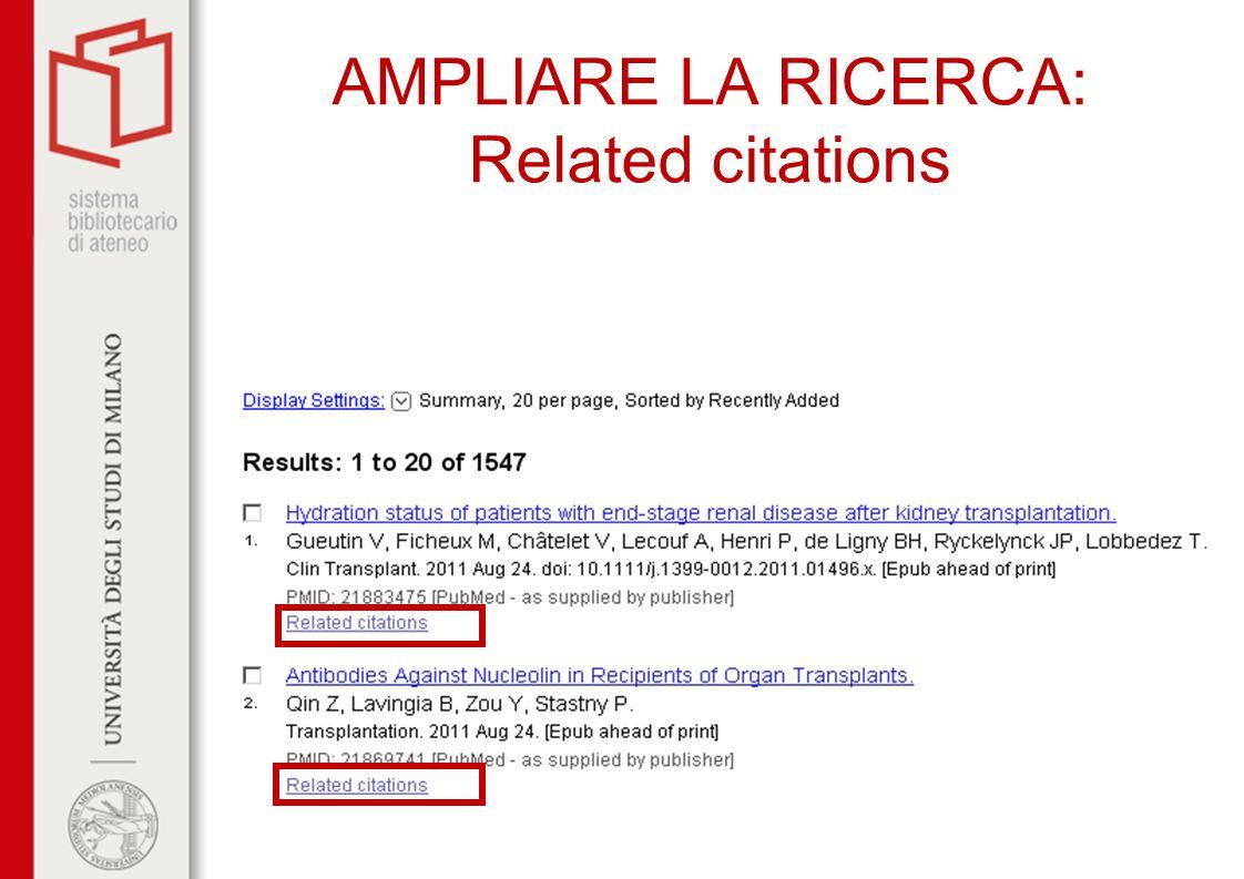 AMPLIARE LA RICERCA: Related citations