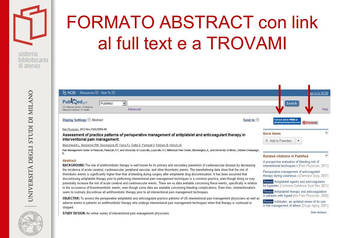 FORMATO ABSTRACT con link al full text e a TROVAMI