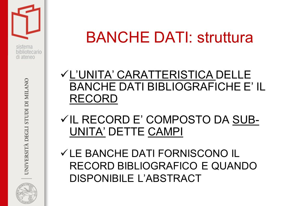 BANCHE DATI: struttura