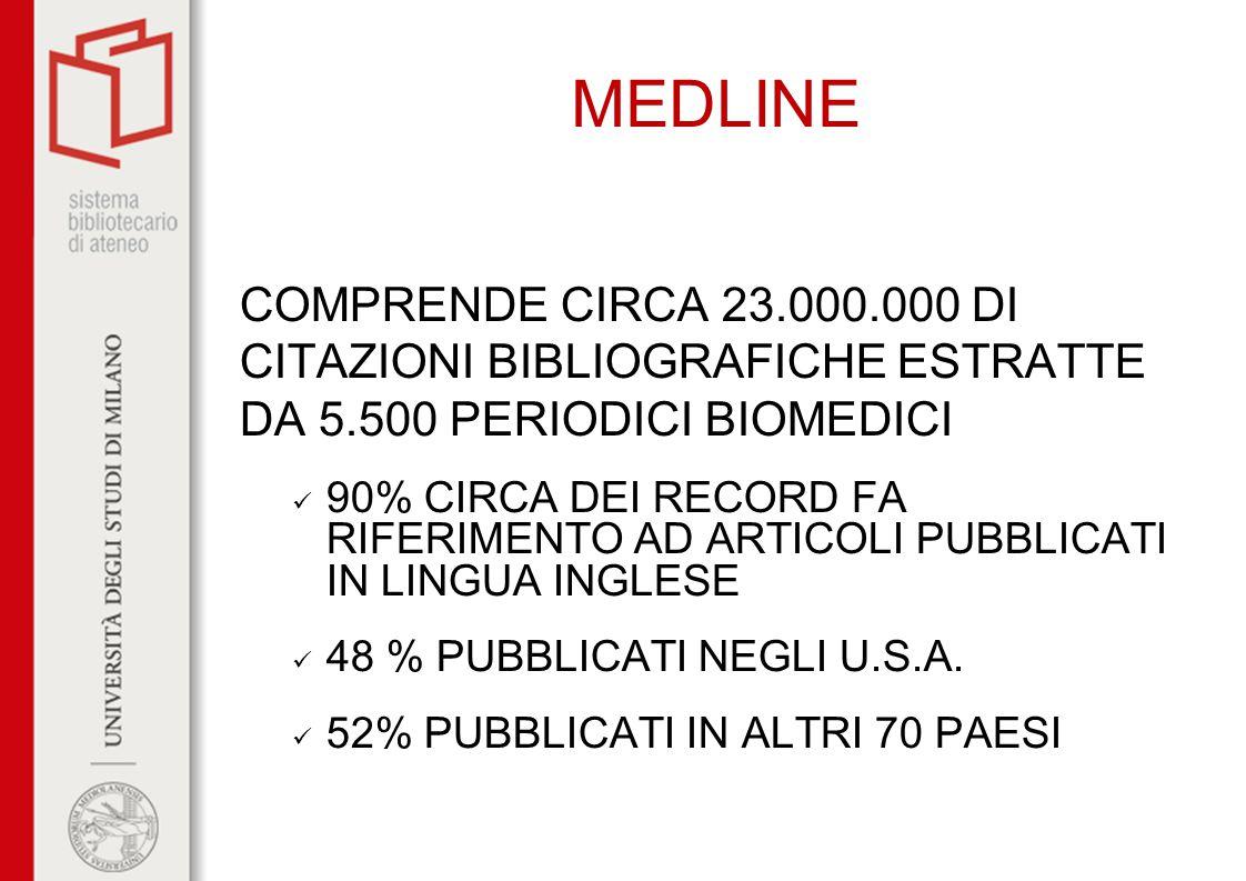 MEDLINE COMPRENDE CIRCA 23.000.000 DI