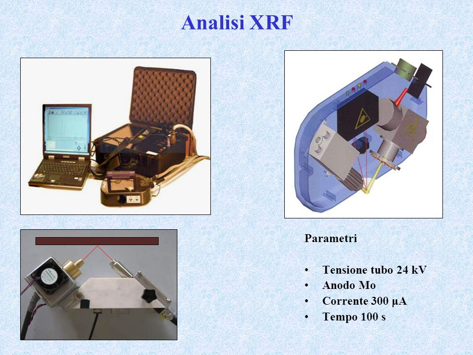 Analisi XRF Parametri Tensione tubo 24 kV Anodo Mo Corrente 300 μA