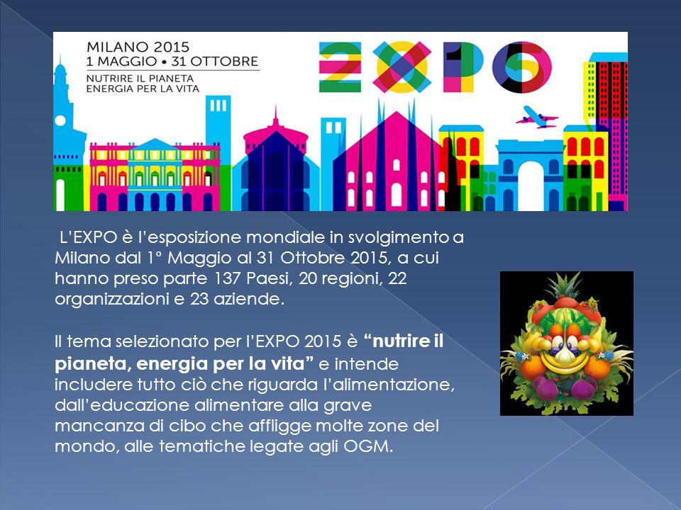 L'EXPO è l'esposizione mondiale in svolgimento a Milano dal 1° Maggio al 31 Ottobre 2015, a cui hanno preso parte 137 Paesi, 20 regioni, 22 organizzazioni e 23 aziende.